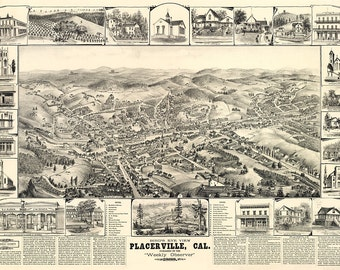 Vintage Map - Placerville, California 1888