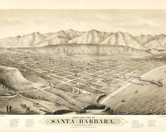 Vintage Map - Santa Barbara, California 1877