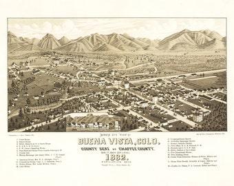 Vintage Map - Buena Vista, Colorado 1882