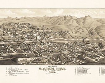 Vintage Map -Golden, Colorado 1882