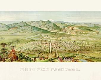 Vintage Map - Pikes Peak, Colorado 1890