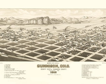 Vintage Map - Gunnison, Colorado 1882