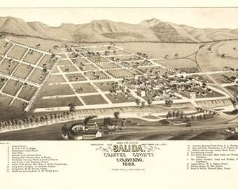 Vintage Map - Salida, Colorado 1882