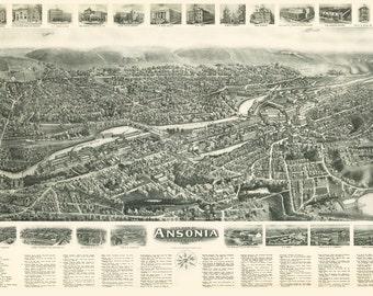 Vintage Map - Ansonia, Connecticut 1921