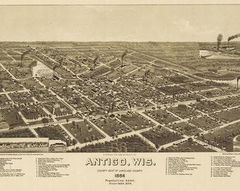 Vintage Map - Antigo, Wisconsin 1886