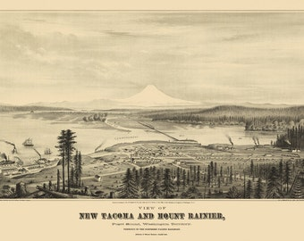 Vintage Map - Tacoma, Washington 1878