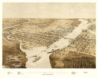 Vintage Map - Green Bay, Wisconsin 1867