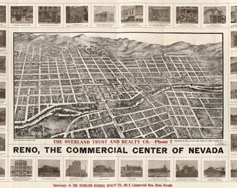 Vintage Map - Reno, Nevada 1907