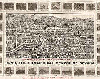 Vintage Map - Reno, Nevada 1907