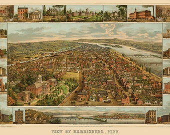 Vintage Map - Harrisburg, Pennsylvania 1855