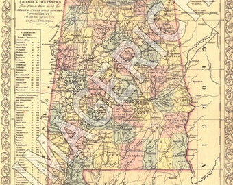 Vintage State Map - Alabama 1856