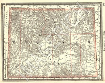Vintage State Map - Wyoming 1883
