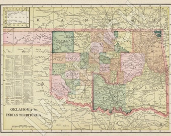 Vintage State Map - Oklahoma 1895