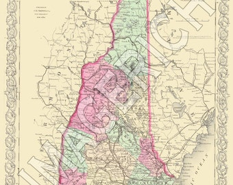 Vintage State Map - New Hampshire 1856