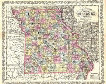 Vintage State Map - Missouri 1856