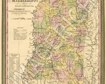 Vintage State Map - Mississippi 1850
