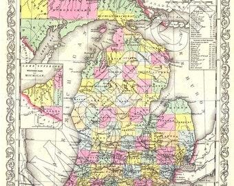 Vintage State Map - Michigan 1856