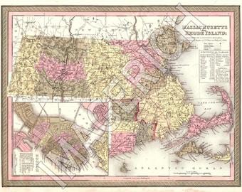 Vintage State Map - Massachusetts 1847