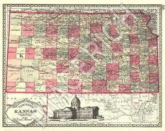Vintage State Map - Kansas 1885