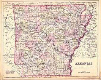 Vintage State Map - Arkansas 1855
