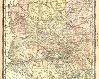 Vintage State Map - Arizona 1883