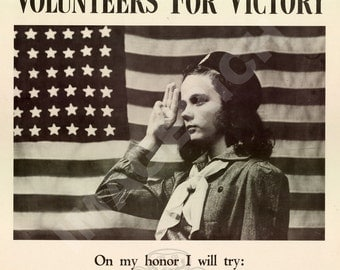 World War II Poster -  Girl Scouts - Volunteers For Victory