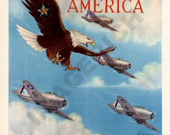 World War II Poster - Wings Over America - Air Corps U.S. Army