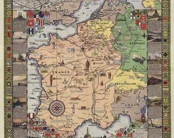 Vintage Map - France 1932