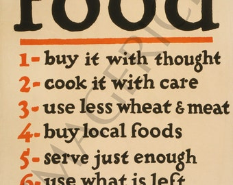 World War 1 Poster - Food - Don't Waste It
