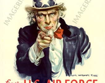 World War II Poster -  Uncle Sam - I Want You - For the U.S. Air Force