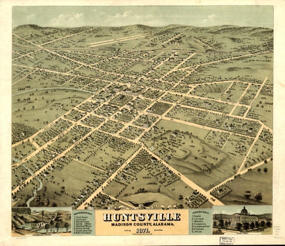 Vintage Map Huntsville Alabama 1871