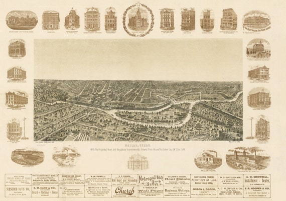 Vintage Map Dallas Texas 1892