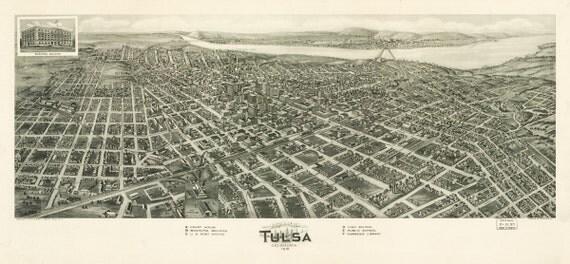 Vintage Map - Tulsa, Oklahoma 1918