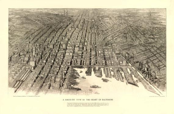 Vintage Map - Baltimore, Maryland 1912