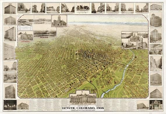 Vintage Map - Denver, Colorado 1908