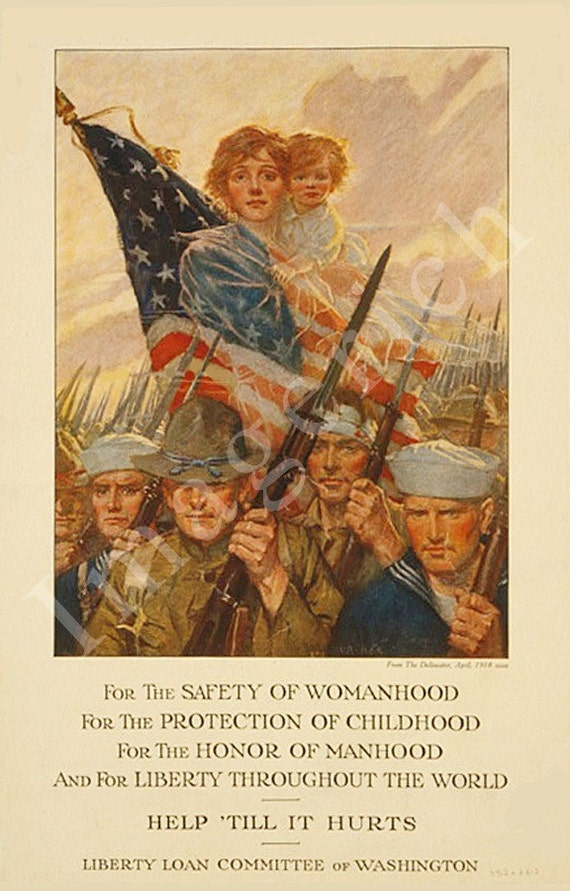 World War 1 Poster - For the safety of womanhood ... help 'till it hurts