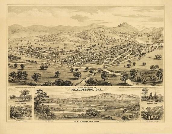 Vintage Map - Healdsburg, California 1876