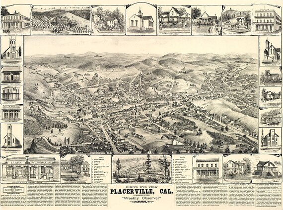 Vintage Map - Placerville, California 1888