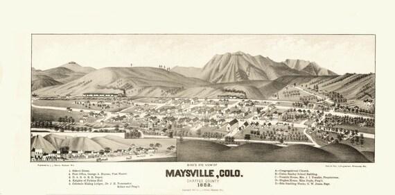 Vintage Map - Maysville, Colorado 1882