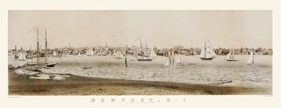 Vintage Map - Newport, Rhode Island 1860