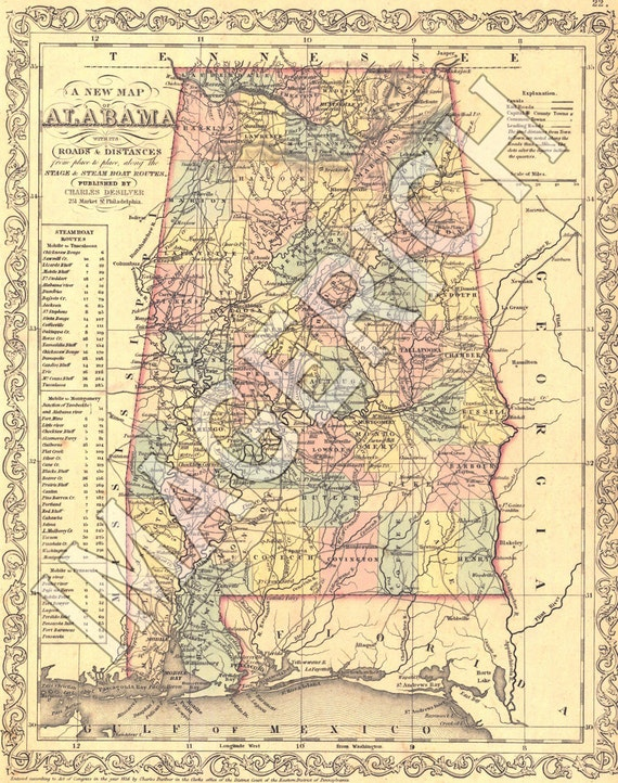 Vintage State Map - Alabama 1856