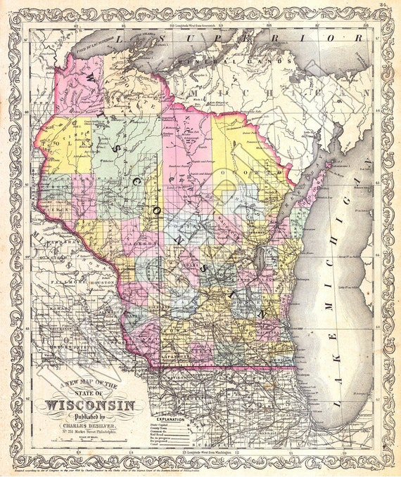 Google Map Request: Vintage State Map Wisconsin 1856
