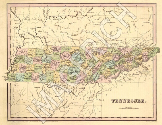 Vintage State Map - Tennessee 1838