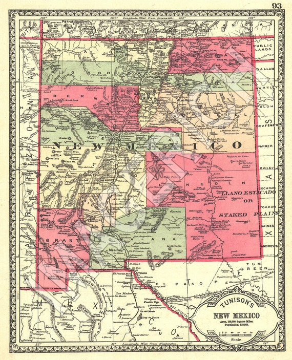 Vintage State Map - New Mexico 1885