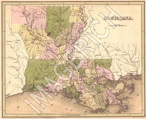 Vintage State Map - Louisiana 1838