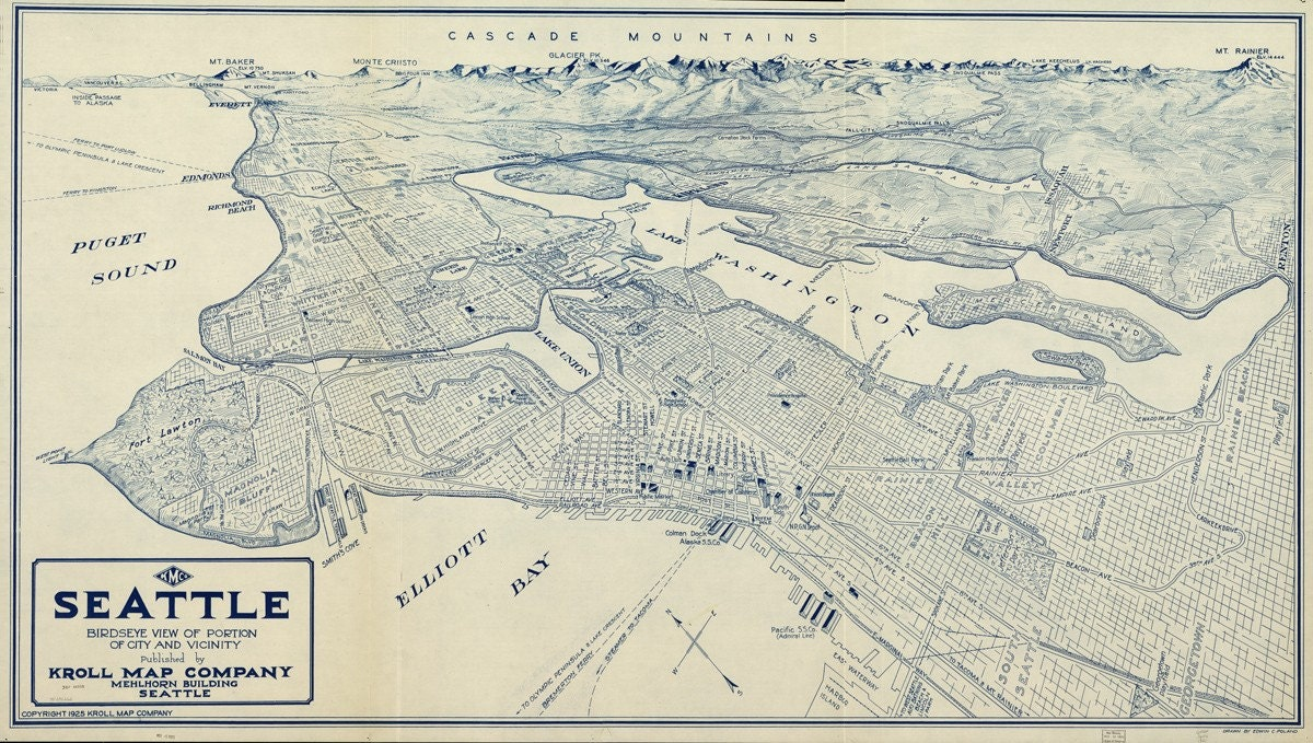 Vintage Map Seattle Washington 1925