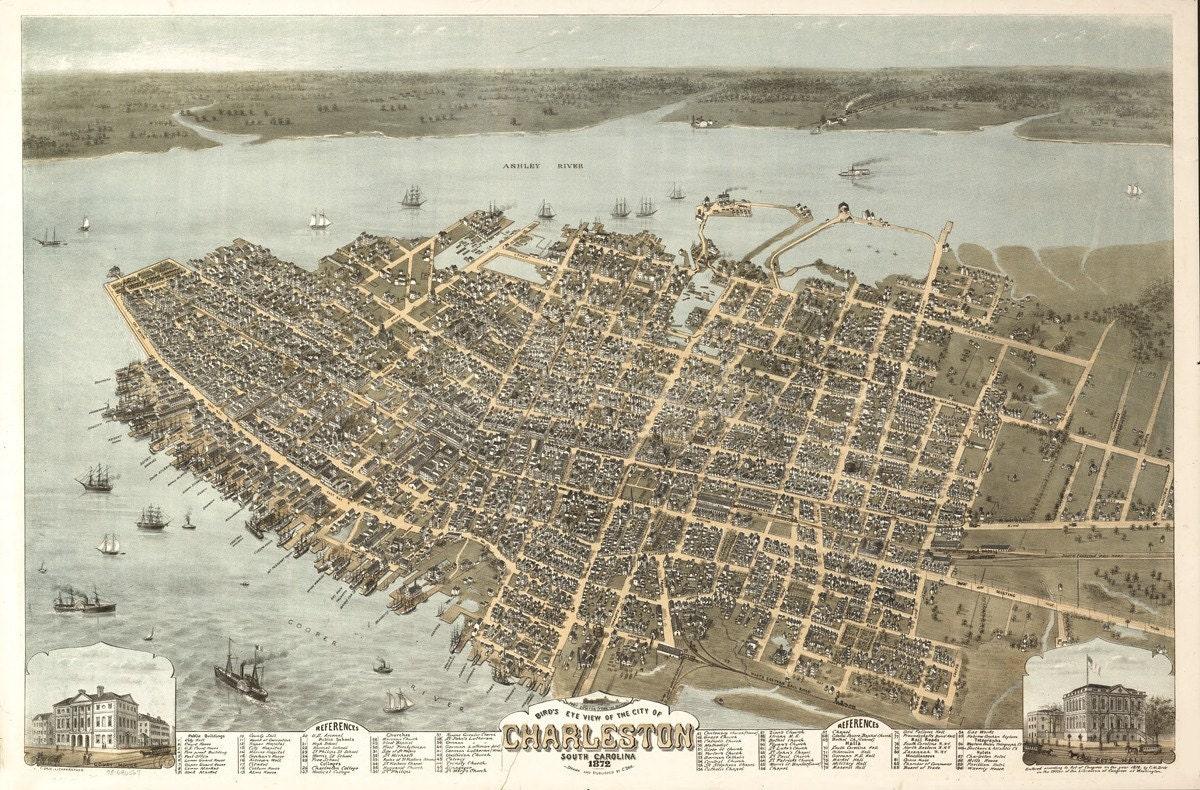 Vintage Map Charleston South Carolina 1872