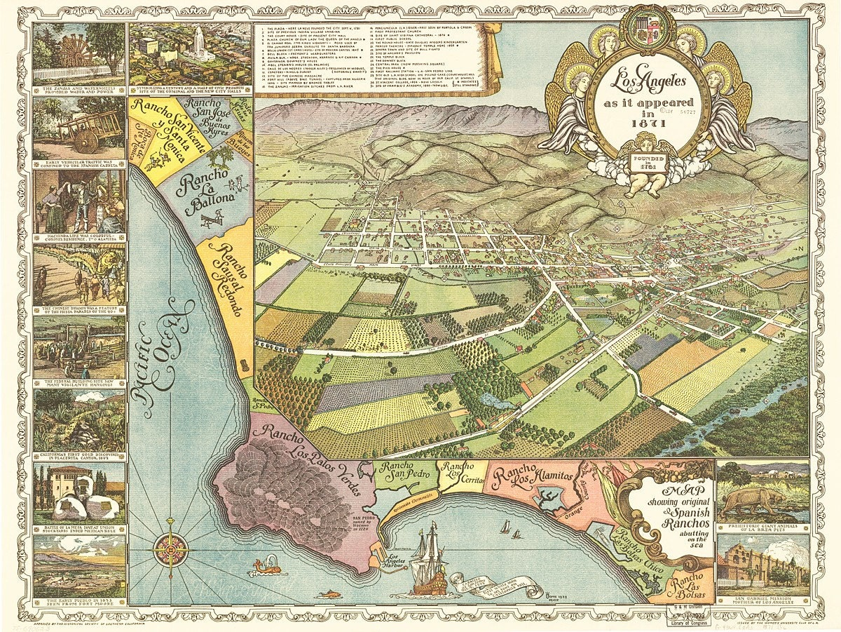 Vintage Map Los Angeles California - Los angeles map vintage