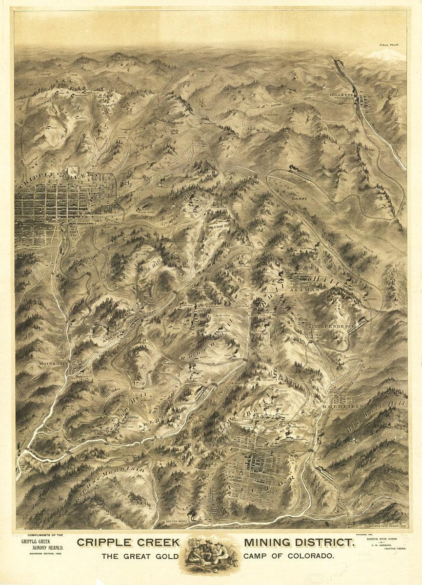 Vintage Map Cripple Creek Colorado 1895