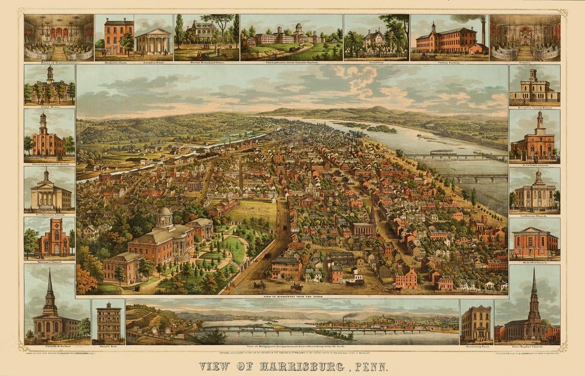 Vintage Map Harrisburg Pennsylvania 1855